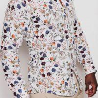 Chemise imprimés fleurs homme blanc