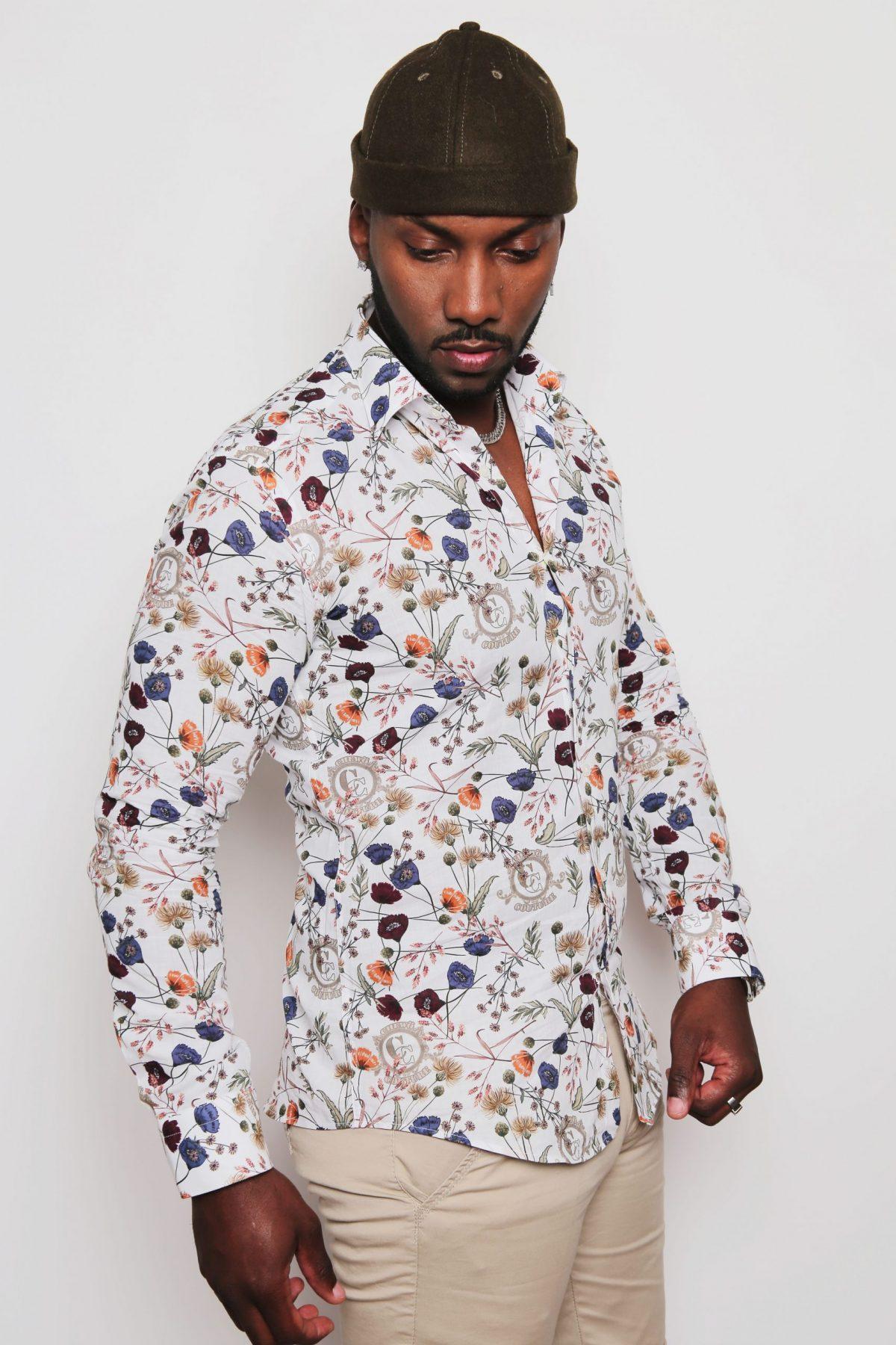 Chemise imprimés fleurs homme