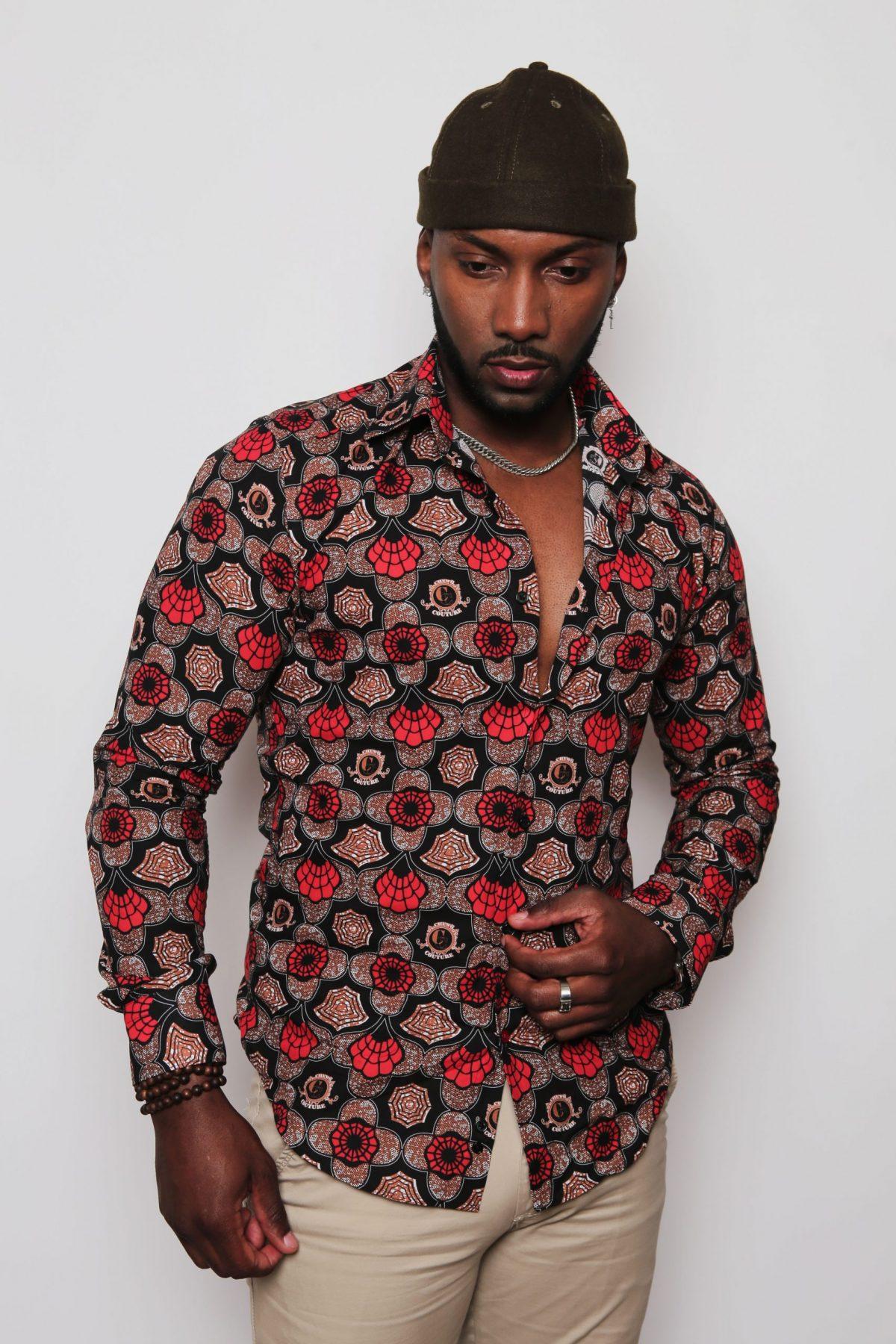 Chemise imprimés homme rouge et noir