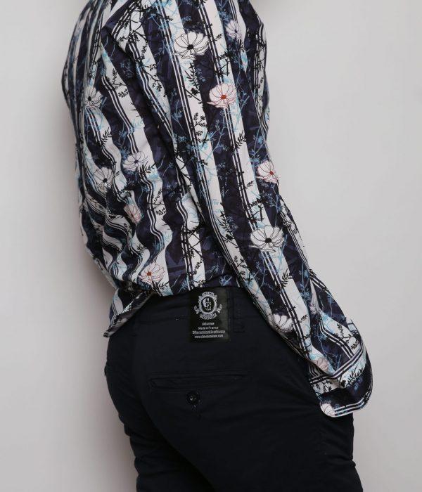 Chemise à fleur et rayé homme bleu marine