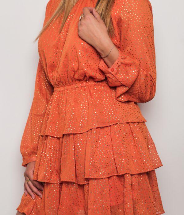 Robe courte orange à volant