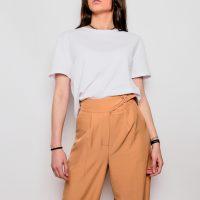 Pantalon femme large ceinturé marron