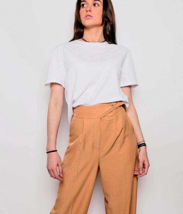 Pantalon femme large ceinturé
