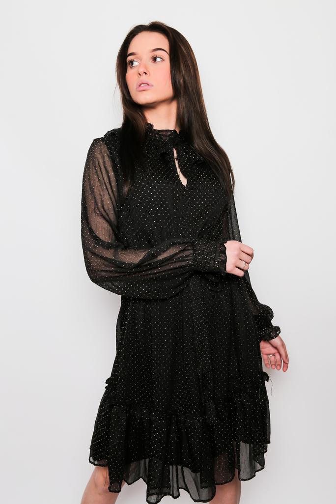robe noire pois dorés