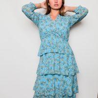 robe imprimée bleue